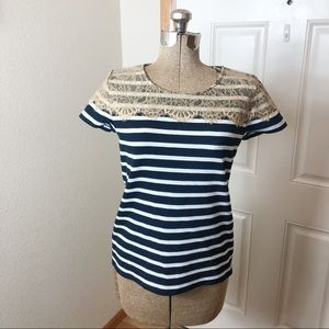 Ann Taylor Blue & White Stripe Lace Top